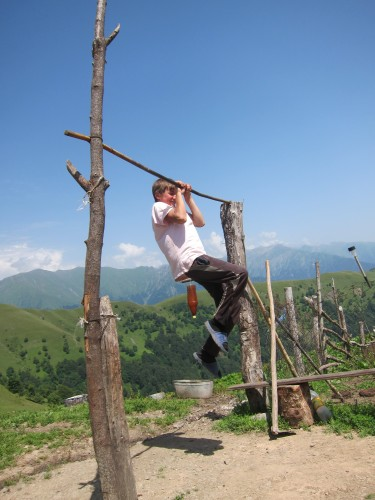 Chechen Boy On Self-Made High Bar